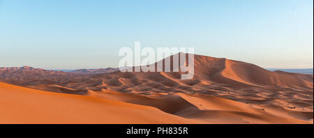 Sand dunes in the desert, dune landscape Erg Chebbi, Merzouga, Sahara, Morocco - Stock Photo
