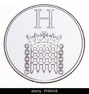 British 10p coin (reverse) from 2018 'Alphabet' series, celebrating Britishness. H - Houses of Parliament - Stock Photo