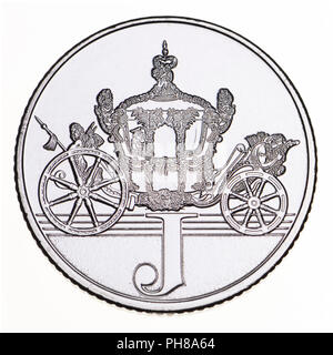 British 10p coin (reverse) from 2018 'Alphabet' series, celebrating Britishness. J - jubilee - Stock Photo