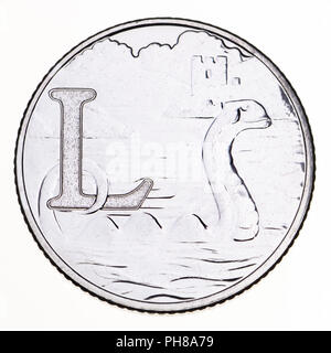 British 10p coin (reverse) from 2018 'Alphabet' series, celebrating Britishness. L - Loch Ness - Stock Photo