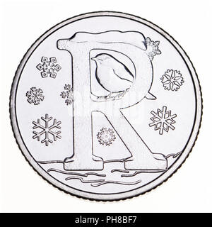 British 10p coin (reverse) from 2018 'Alphabet' series, celebrating Britishness. R - Robin - Stock Photo