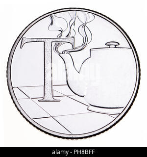 British 10p coin (reverse) from 2018 'Alphabet' series, celebrating Britishness. T - tea - Stock Photo