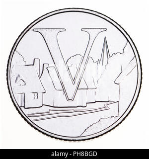 British 10p coin (reverse) from 2018 'Alphabet' series, celebrating Britishness. V - Villages - Stock Photo