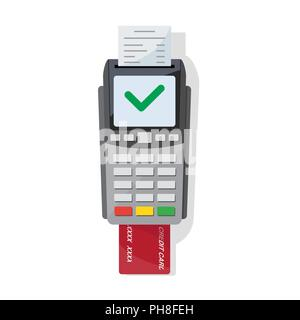 Payment machine and credit card icon in flat style. - Stock Photo