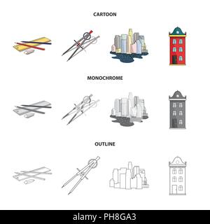 Drawing accessories, metropolis, house model  Architecture