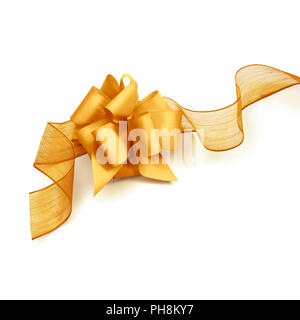 Golden bow and ribbon isolated on white background - Stock Photo