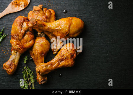 Grilled Roasted And Barbecue Chicken Legs In Pan With Tzaziki Sauce