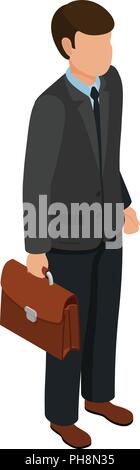 Isometric friendly caucasian businessmen holding briefcase with documents. Image for banner or infographics. Vector illustration. - Stock Photo