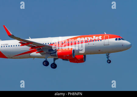 EasyJet Airbus A320-200 at Milan - Malpensa (MXP / LIMC) Italy - Stock Photo