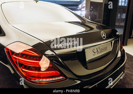 Berlin, August 29, 2018: A close-up of the Mercedes-Maybach sign. Luxury branded expensive car. - Stock Photo