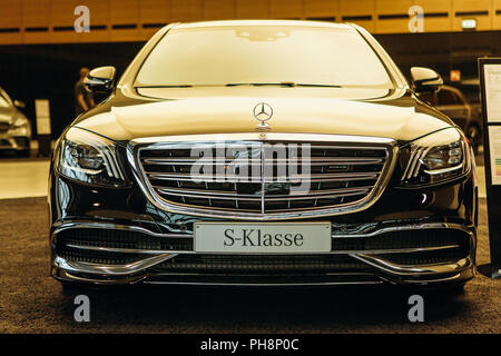Berlin, August 29, 2018: A close-up of the Mercedes-Maybach car which is exhibited and sold in the official dealer's center in Berlin. Luxury branded expensive car. - Stock Photo