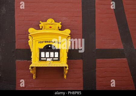 Post mailbox, Rheda Castle, Rheda-Wiedenbrueck - Stock Photo