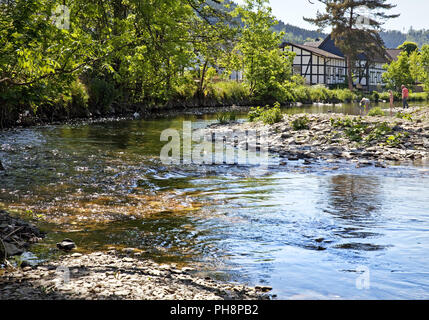 River Lenne district Saalhausen, Lennestadt - Stock Photo