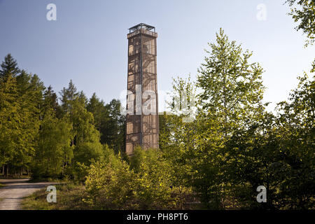 lake Moehne tower in the Arnsberg Forest - Stock Photo