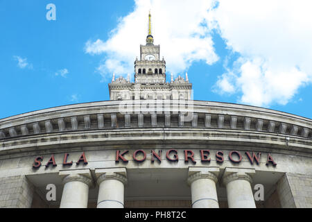 Warsaw Poland the Palace of Culture and Science in the city centre built in the 1950s - Stock Photo