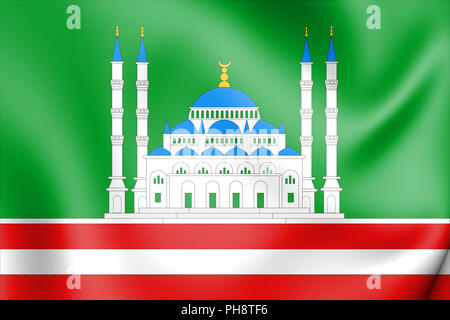 3D Flag of Grozny (Chechen Republic), Russia. 3D Illustration. - Stock Photo