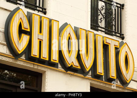 Chiquito sign at Leicester Square, London, UK - Stock Photo