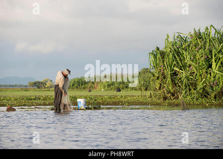 Thailand, Patthalung, Tale Noi, Fisherman with cast net early morning - Stock Photo