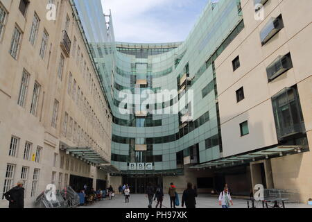 Entrance to the BBC Broadcasting House in London, UK - Stock Photo