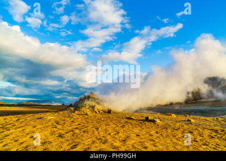 Steaming fumaroles  at Hverir geothermal area - Stock Photo