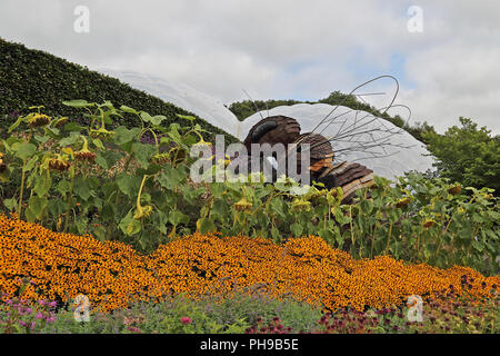A large model of a bee at the Eden Project, St Blazey, Cornwall, UK - Stock Photo