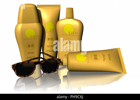 3D illustration. Beach holidays in the sun, symbolized by sunscreen and sunglasses. - Stock Photo