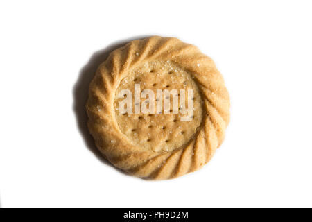 shortbread biscuit on plain white background with small shadow around the edge - Stock Photo