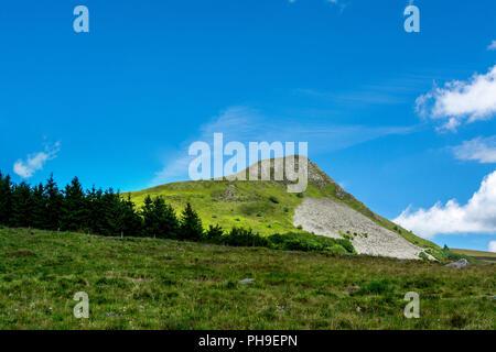 View on  Banne d'Ordanche,  Auvergne Volcanoes Regional Nature Park, Puy de Dome, Auvergne Rhone Alpes, France - Stock Photo