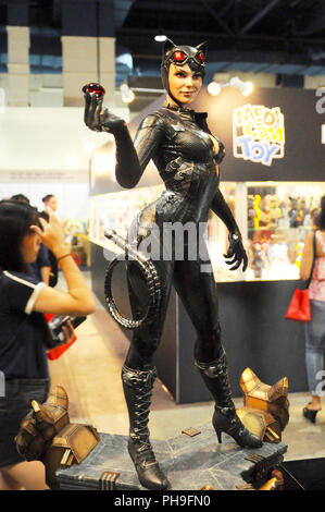 Fiction super villain action figure character of CAT WOMAN from DC movies and comic. Cat Woman action figure toys in various size display to public - Stock Photo