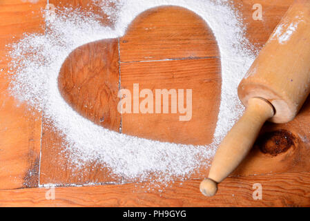 Cookies heart of flour - Stock Photo