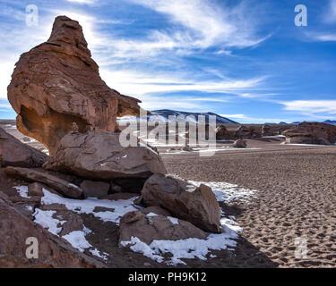 Rock formations in the Siloli Desert, Sud Lipez, Bolivia - Stock Photo
