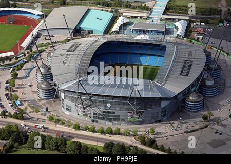 aerial view of Manchester City FC Etihad Stadium