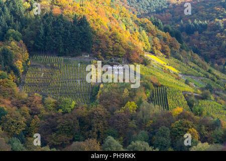 Wine village Rech, red wine trail, Ahr Valley - Stock Photo
