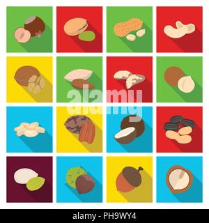 Different kinds of nuts flat icons in set collection for design.Nut Food vector symbol stock  illustration. - Stock Photo