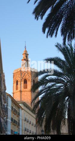 View from the Plaza de la Reina of the Miguelete tower of Valencia, Spain - Stock Photo