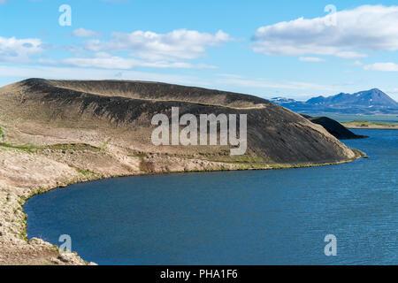 Skutustadagigar pseudo-craters in the lake Myvatn area - Iceland - Stock Photo