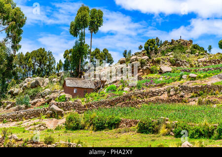 View of the hill at Taquile island in Lake Titicaca - Stock Photo
