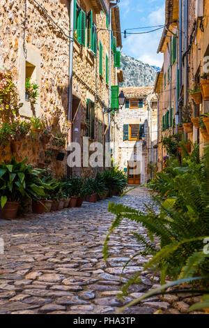Plant Street in Valldemossa, Majorca - Stock Photo
