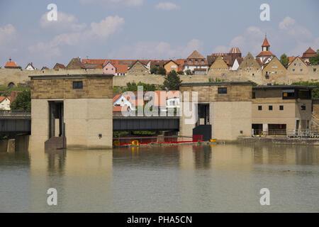 waterworks in the Neckar Valley nearby Lauffen, Germany - Stock Photo