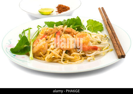 Thai style stir fried rice noodles - Stock Photo