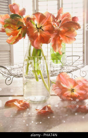 Colorful tulips on table - Stock Photo