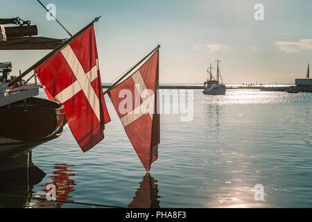 Danish flag, oldest flag in the world - Stock Photo