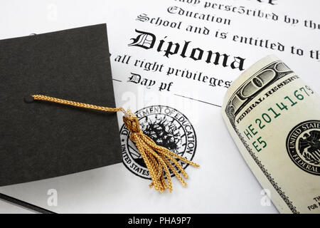 diploma and cash - Stock Photo