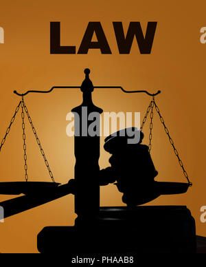 Legal gavel with scales and LAW text - Stock Photo