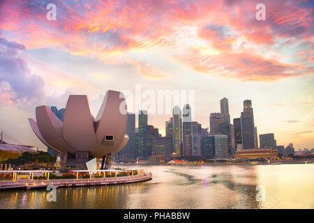 Singapore Downtown at sunset - Stock Photo