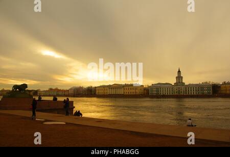Admiralty embankment in Saint-Petersburg - Stock Photo