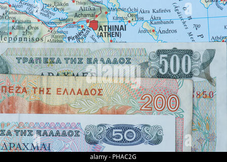 old currency Drachma from Greek - Stock Photo