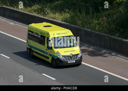 NHS North West Ambulance emergency response service vehicle, emergency, health, healthcare, medicine, medical care on the M6 at Lancaster, UK - Stock Photo