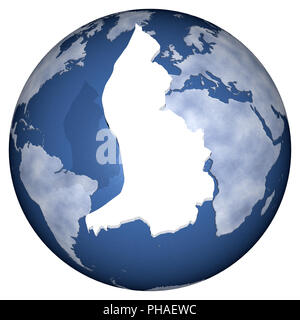 3D illustration. Profile and borders of the nation with the world the background. - Stock Photo