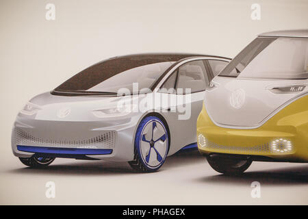 Berlin, August 29, 2018: Photo image of the new concept cars from Volkswagen presented at the official Auto Show Drive - the Volkswagen Group Forum in Berlin. - Stock Photo